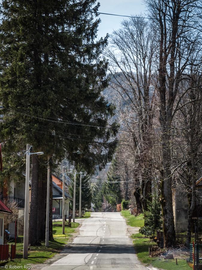 Pogled na cestu koja ravno prolazi kroz naselje Stari Laz. Fotografirano 14.4.2018.