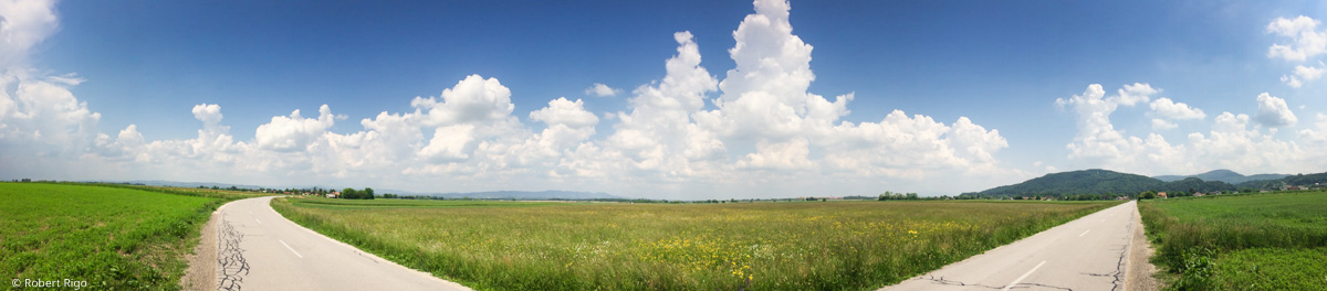Panorama view toward east close to Krška vas. Road looks weird, but this is 180+ deg. view ;-)
